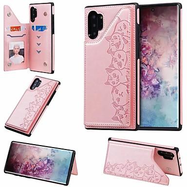Недорогие Чехол Samsung-Кейс для Назначение SSamsung Galaxy Note 9 / Note 8 / Samsung Note 10 Бумажник для карт / со стендом Кейс на заднюю панель Кот Кожа PU