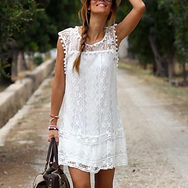 cheap Lace Dresses-Women's Shift Dress Short Mini Dress - Sleeveless Lace Summer Plus Size Casual Holiday Vacation Lace White Black S M L XL XXL