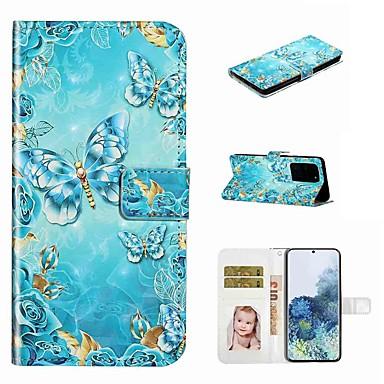 Недорогие Чехол Samsung-чехол для samsung galaxy s20 / galaxy s20 plus / galaxy s20 ultra кошелек / визитница / с подставкой для кейсов чехол синяя бабочка искусственная кожа / тпу для galaxy a51 / a71 / a80 / a70 / a50 /