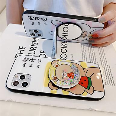 Недорогие Кейсы для iPhone-Держатель для зеркала с плавной жидкостью из закаленного стекла Чехол для телефона с изображением мультфильма для яблока Чехол для iPhone 11 pro max x xr xs max 8 plus 7 plus 6 plus se (2020) кривая