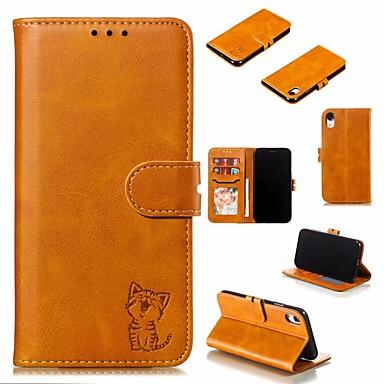 Недорогие Кейсы для iPhone-Кейс для Назначение Apple iPhone 11 / iPhone 11 Pro / iPhone 11 Pro Max Бумажник для карт / Защита от удара / Защита от пыли Чехол Однотонный Кожа PU / ТПУ