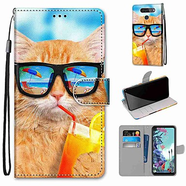 Недорогие Чехлы и кейсы для LG-чехол для LG Q70 / LG K50S / LG K40S кошелек / визитница / с подставкой для всего тела пить содовая кошка искусственная кожа / тпу для LG K30 2019 / LG K20 2019