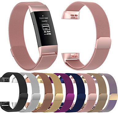 Недорогие Ремешки для спортивных часов-Ремешок для часов для Fitbit Charge 3 / Fitbit Charge 4 Fitbit Миланский ремешок Нержавеющая сталь Повязка на запястье