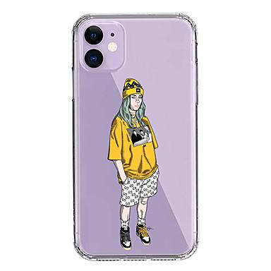 Недорогие Кейсы для iPhone-чехол для apple iphone 11/11 pro / 11 pro max / xs / xr / xs max / 8 plus / 7 plus / 8/7/6 / 6s прозрачный рисунок с защитой от падения задняя крышка билли эйлиш проливает слезы мягкий пк + тпу
