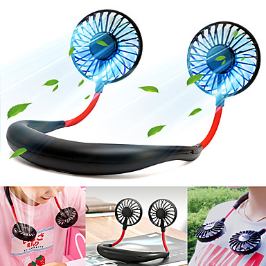 cheap Fans-Hanging Personal Portable Neck Fan, Hands Free Rechargeable Mini USB Battery Operated Fan 2000mA USB Portable Fan with 3 Speed, 360° Free Rotation, 4 Colors of LED Light Conversion for Office Home
