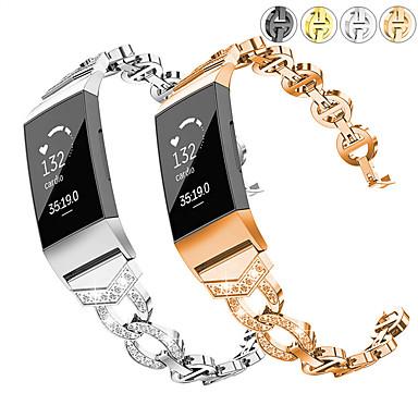 Недорогие Аксессуары для смарт-часов-Ремешок для часов для Fitbit Charge 3 Fitbit Дизайн украшения Нержавеющая сталь Повязка на запястье