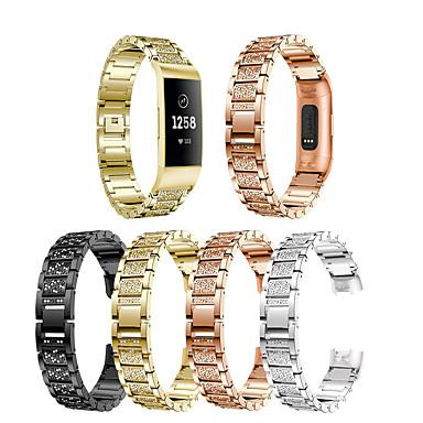Недорогие Аксессуары для смарт-часов-Ремешок для часов для Fitbit заряд3 / Fitbit Charge 4 Fitbit Дизайн украшения Нержавеющая сталь Повязка на запястье