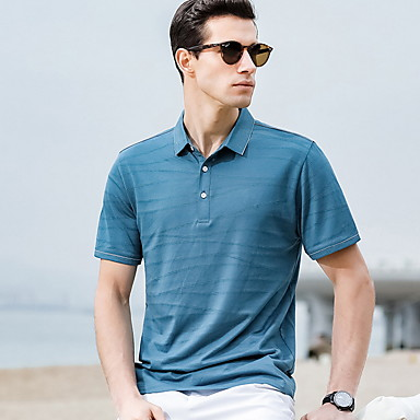 cheap Men's Polos-Men's Solid Colored Polo Daily Shirt Collar Blue / Red / Green / Short Sleeve
