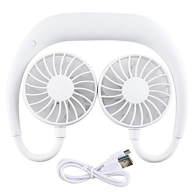 cheap Fans-USB Rechargeable Wearable Portable Hand Free Neckband Fan Personal Mini Neck Double Fans 3 Speed Adjustable For Home Office