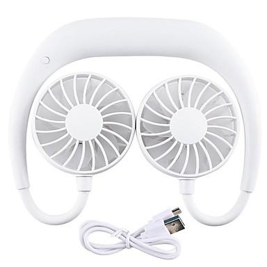 billige Ventilator-USB genopladelig bærbar bærbar håndfri halsbånd ventilator personlig mini hals dobbeltventilatorer 3 hastighed justerbar til hjemmekontor
