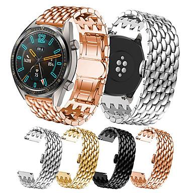 Недорогие Аксессуары для смарт-часов-Ремешок для часов для Huawei Watch GT / Huawei Watch GT Active / Huawei Watch GT2 46mm Huawei Спортивный ремешок / Бизнес группа Нержавеющая сталь Повязка на запястье
