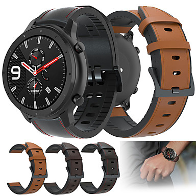 cheap Watch band for Amazfit-Leather Silicone Watch Band Wrist Strap For Huami Amazfit GTR 47mm / Amazfit Stratos 3 / Stratos 2 2S / Amazfit Pace Watch Replaceable Bracelet Wristband