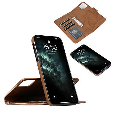 Недорогие Кейсы для iPhone-Кейс для Назначение Apple iPhone 11 / iPhone 11 Pro / iPhone 11 Pro Max Бумажник для карт / Защита от удара / Флип Чехол Однотонный Кожа PU / ТПУ