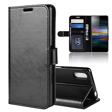 Недорогие Чехлы и кейсы для Sony-для xperia l3 r64 текстура одноразовый горизонтальный флип кожаный чехол с держателем&усилитель; слоты для карт&усилитель; бумажник