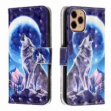 Недорогие Кейсы для iPhone-чехол для apple iphone 11 / iphone 11 pro / iphone 11 pro max кошелек / визитница / с подставкой снежная гора волк искусственная кожа / тпу для iphone xs max / xr / xs / x / se (2020) / 8 plus / 8