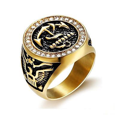 hesapli Erkek Takıları-Yüzük Klasik Altın Titanyum Çelik Çapa Şık 1pc 9 10 11 12 13 / Erkek