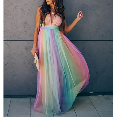 cheap Women's Dresses-Women's Sheath Dress - Sleeveless Striped Summer Elegant 2020 Rainbow S M L XL XXL