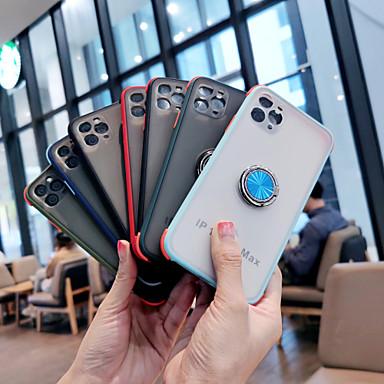 Недорогие Кейсы для iPhone-Кейс для Назначение Apple iPhone 11 / iPhone 11 Pro / iPhone 11 Pro Max Защита от удара / Кольца-держатели Кейс на заднюю панель Однотонный ТПУ