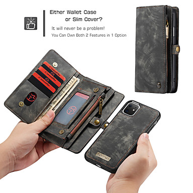 Недорогие Кейсы для iPhone-Caseme роскошный деловой кожаный магнитный флип чехол для iphone se2020 / 11 pro max / 11 pro / 11 / xs max / xr / xs / x / 8 plus / 7 plus / 6 plus / 8/7/6 слот для карт-слотов съемная крышка