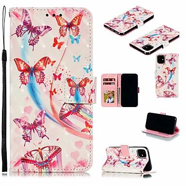Недорогие Кейсы для iPhone-Кейс для Назначение Apple iPhone 11 / iPhone 11 Pro / iPhone 11 Pro Max Бумажник для карт / Защита от удара / Защита от пыли Чехол 3D в мультяшном стиле Кожа PU / ТПУ