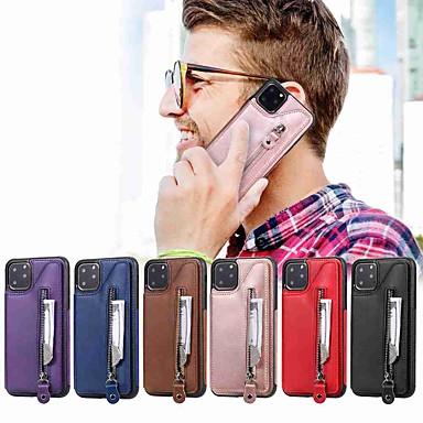 Недорогие Кейсы для iPhone-чехол для apple iphone 11 / iphone 11 pro / iphone 11 pro max кошелек / визитница / с подставкой на задней крышке двойная кнопка молния искусственная кожа / тпу для iphone xs max / xr / xs / x / se