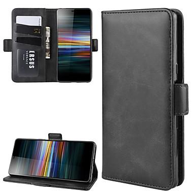 Недорогие Чехлы и кейсы для Sony-для Sony Xperia L3 / Sony Xperia XZ3 / Sony Xperia 1 II Стенд кошелек кожаный чехол для мобильного телефона с кошельком&усилитель; держатель&усилитель; слоты для карт