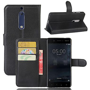 Недорогие Чехлы и кейсы для Nokia-для Nokia 8 / Nokia 9 / Nokia 9 pureview Личи текстуры горизонтальный флип кожаный чехол с кошельком&усилитель; держатель&усилитель; слоты для карт