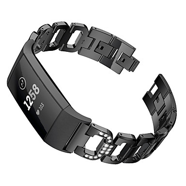 Недорогие Аксессуары для смарт-часов-Ремешок для часов для Fitbit Charge 3 Fitbit Спортивный ремешок / Дизайн украшения Нержавеющая сталь Повязка на запястье