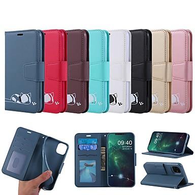 Недорогие Кейсы для iPhone-чехол для apple iphone se 2020 / iphone 11 pro / iphone 11 pro max кошелек / визитница / с подставкой для всего тела кошки / сплошная цветная кожа pu для iphone xr / xs max / x / 7/8 plus / 6 / 6s