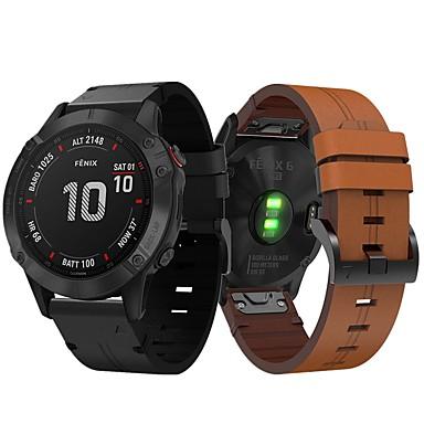 billige Se bånd til Motorola-smartwatch band til garmin fenix 6 / 6pro / fenix5 / 5 plus / forløber 945/935 / s60 læderløkke ægte læder sport forretningsbånd high-end mode behageligt sundhed håndledsrem 22mm