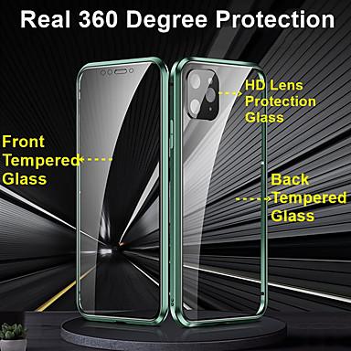 Недорогие Кейсы для iPhone-конфиденциальность металлический магнитный адсорбции закаленное стекло 360 защитный чехол для Iphone SE 2020/11/11 Pro / 11 Pro / X / XS / XR / XS макс / 8plus / 8 / 7plus / 7