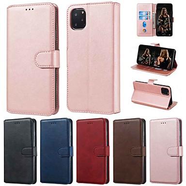 Недорогие Кейсы для iPhone-Кейс для Назначение Apple iPhone 11 / iPhone 11 Pro / iPhone 11 Pro Max Кошелек / Бумажник для карт / со стендом Чехол Однотонный Кожа PU / ТПУ