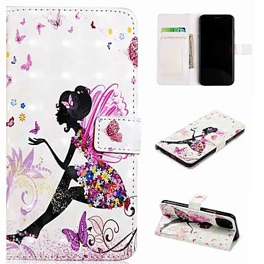 Недорогие Кейсы для iPhone-чехол для apple iphone 11 / iphone 11 pro / iphone 11 pro max кошелек / визитница / с подставкой для всего тела чехлы бабочка девушка из кожи / тпу для iphone se (2020) / 8/8 plus / x / xs / xr / xs