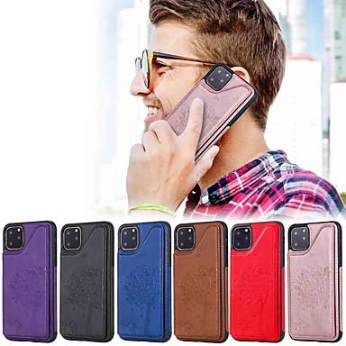Недорогие Кейсы для iPhone-чехол для apple iphone 11 / iphone 11 pro / iphone 11 pro max кошелек / держатель для карты / с подставкой на задней крышке для тиснения кошкой и деревом / тпу для iphone xs max / xr / xs / x / se