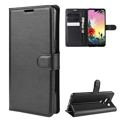 Недорогие Чехлы и кейсы для LG-Кейс для Назначение LG LG Q Stylus / LG X Screen / LG X Power 2 Кошелек / Бумажник для карт / Защита от удара Чехол Однотонный Кожа PU