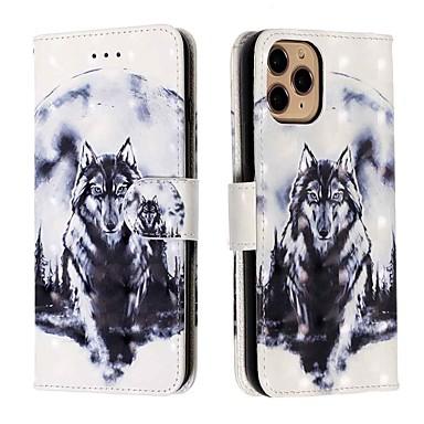 Недорогие Кейсы для iPhone-чехол для apple iphone 11 / iphone 11 pro / iphone 11 pro max кошелек / визитница / с подставкой для всего тела чехол из белого волка, искусственная кожа / тпу для iphone xs max / xr / xs / x / se