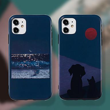 Недорогие Кейсы для iPhone-карта сцены яблока iphone 11 11 pro 11 pro max кошки и собаки ночная сцена картина imd процесс тпу материал точное положение отверстия случай мобильного телефона