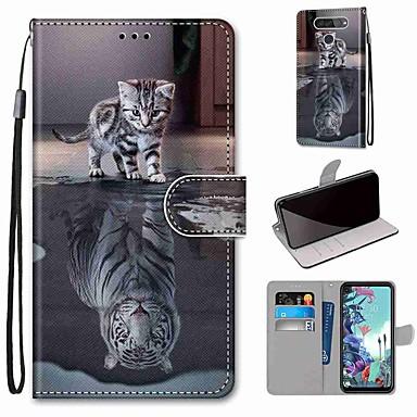 Недорогие Чехлы и кейсы для LG-чехол для LG Q70 / LG K50S / LG K40S кошелек / визитница / с подставкой для всего тела кошка становится тигром искусственная кожа / ТПУ для LG K30 2019 / LG K20 2019