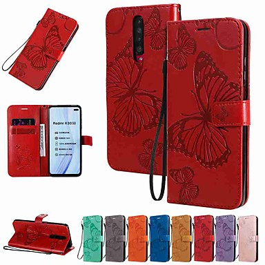 Недорогие Чехлы и кейсы для Xiaomi-чехол для xiaomi redmi note 8 pro / redmi note 8 / redmi note 8t кошелек / визитница / с подставкой бабочка с тиснением из искусственной кожи / тпу для mi 10 / mi cc9 pro / redmi 8 / redmi k30 / redmi