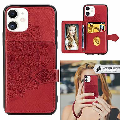 Недорогие Кейсы для iPhone-Мандала тисненая магнитная ткань PU кожаный бумажник чехол для iphone se 2020 iphone 11 pro max xr xs x 8 плюс 7 плюс 6 плюс слоты для карт памяти держатель подставка защитная крышка чехол