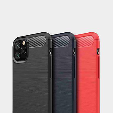 Недорогие Кейсы для iPhone-Кейс для Назначение Apple iPhone 11 / iPhone 11 Pro / iPhone 11 Pro Max Защита от удара Кейс на заднюю панель Однотонный ТПУ / Углеродное волокно