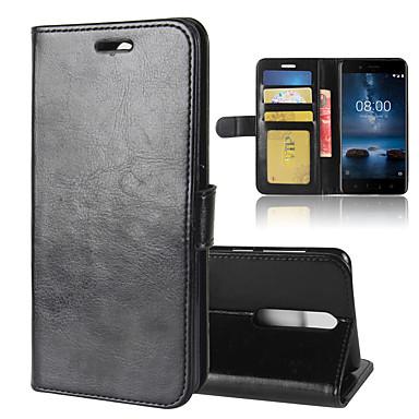 Недорогие Чехлы и кейсы для Nokia-для nokia 8 r64 текстура однократный горизонтальный флип кожаный чехол с держателем&усилитель; слоты для карт&усилитель; бумажник