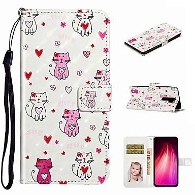 Недорогие Чехлы и кейсы для Xiaomi-чехол для xiaomi xiaomi redmi note 8 / xiaomi redmi note 8 pro / redmi note 7 pro кошелек / визитница / с подставкой для чехлов для тела любящая кошка из искусственной кожи / тпу для redmi note 7