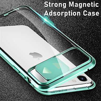 Недорогие Кейсы для iPhone-магнитная адсорбция двухсторонний корпус прозрачное закаленное стекло металл 360 защитная крышка для iphone se 2020 11 11pro 11pro max x xs xr xs max 8 плюс 8 7 плюс 7