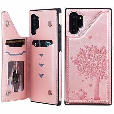 Недорогие Чехол Samsung-Кейс для Назначение SSamsung Galaxy Note 9 / Note 8 / Samsung Note 10 Бумажник для карт / со стендом / Магнитный Кейс на заднюю панель Кот / дерево Кожа PU