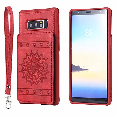 Недорогие Чехол Samsung-Кейс для Назначение SSamsung Galaxy Note 9 / Note 8 / Galaxy S10 Бумажник для карт / со стендом Кейс на заднюю панель Цветы Кожа PU