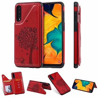 Недорогие Чехол Samsung-Кейс для Назначение SSamsung Galaxy Samsung Galaxy A50 / Samsung Galaxy A50s / Samsung Galaxy A30s Бумажник для карт / со стендом Кейс на заднюю панель Кот / дерево Кожа PU