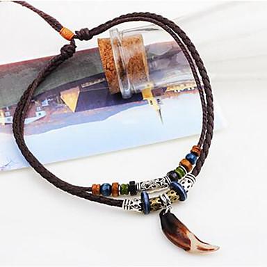 Недорогие Ожерелья-Муж. Ожерелья с подвесками Плетение Фольклорный стиль Кожа Резина Коричневый 45 cm Ожерелье Бижутерия Назначение