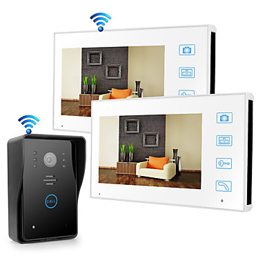cheap Access Control-Wireless 2.4GHz 7 inch Hands-free 800*480 Pixel with PIR Motion Detect video doorphone