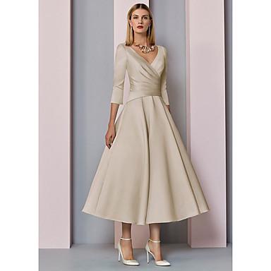 hesapli Gelin Annesi Elbiseleri-A-line gelinin annesi elbise zarif vintage artı boyutu v boyun çay uzunluğu saten 3/4 uzunluk kollu pileli 2020 damat elbiseler annesi